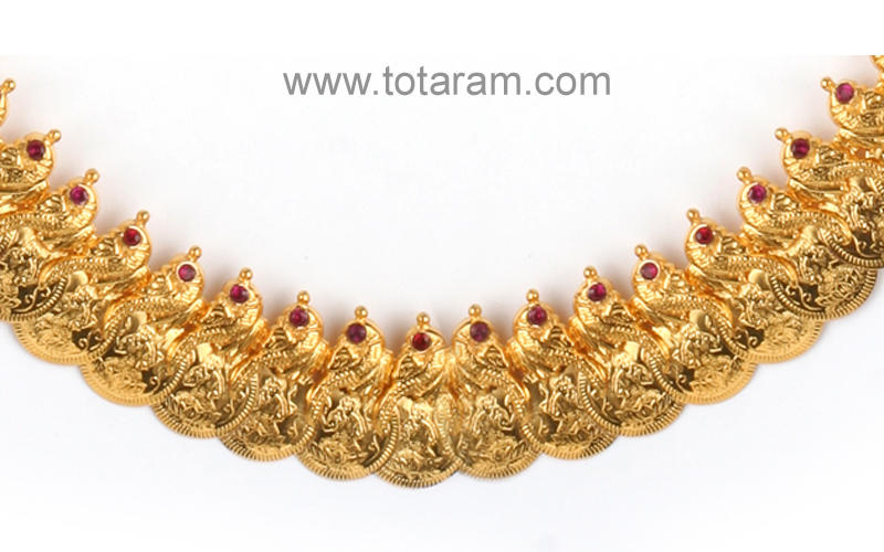 22 Karat Gold Lakshmi kasu mala with Red Stones GN103
