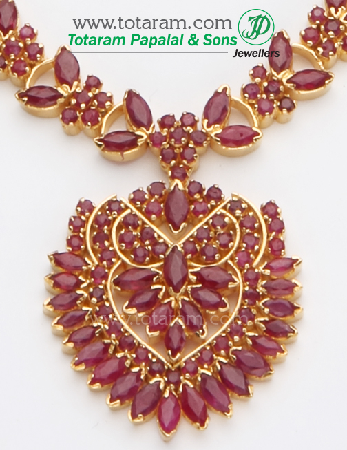 22k gold rubies necklace earrings long set for 22k gold jewelry usa