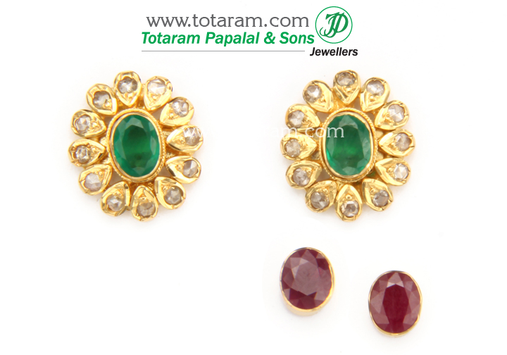 22 Karat Gold 4 In 1 Uncut Diamond Earrings With Ruby Emerald It Has Interchangeable Stones Middle Of You Can Wear The Earring