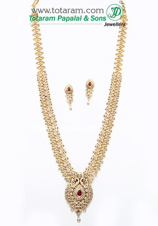 18k gold 3 in 1 diamond vaddanam cum necklace earrings set with 18k gold 3 in 1 diamond vaddanam cum necklace earrings set with ruby onyx 235 ds472 in 215250 grams aloadofball Choice Image