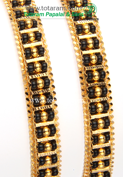 22k gold bangles with black set of 2 1 pair gbl675 89478