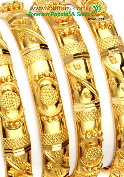 865d10346cf 22K Gold Bangles - Set of 4 (2 Pairs) - Size 2-0 - 235-GBL950 in ...