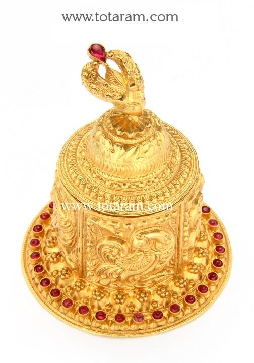 22k gold 39 peacock 39 kumkum box temple jewellery gkk114 for 22k gold jewelry usa