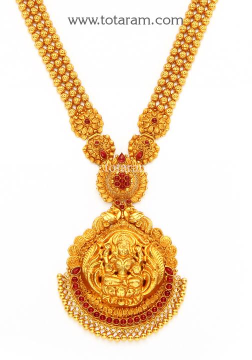 22K Gold 2 in 1 Lakshmi Long Necklace Temple Jewellery