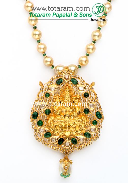 22K Gold Lakshmi Long Necklace with Uncut Diamonds & South Sea