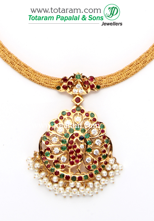 22k gold 39 peacock 39 addiga necklace with rubies 235 gn613 for 22k gold jewelry usa