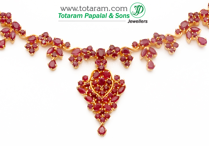22 Karat Gold Ruby Necklace Long Earrings Set With Intricate Workmanship Gross Weight 39 600 Grams 25 00 Carats