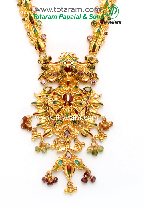 22k gold long necklace ear hangings set gs1378 for 22k gold jewelry usa