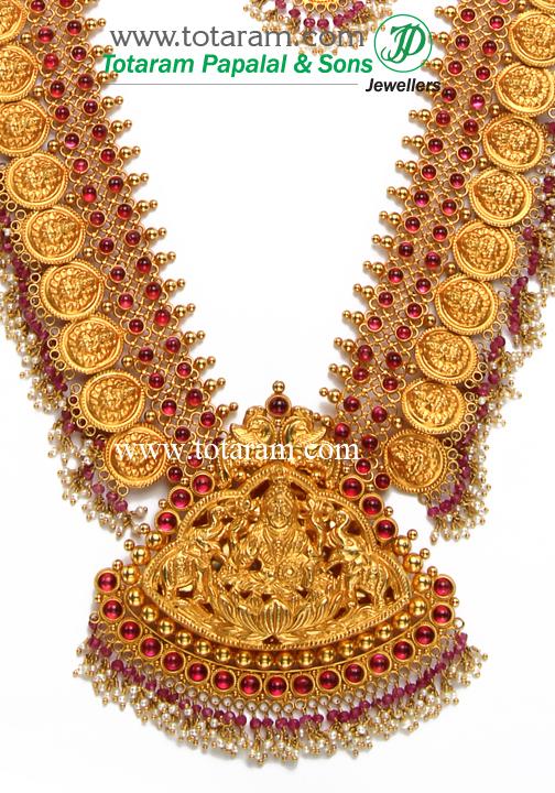 22K Gold 2 in 1 Lakshmi Long Necklace Drop Earrings Set Temple