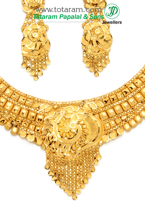 22k gold necklace earrings set gs2426 for 22k gold jewelry usa