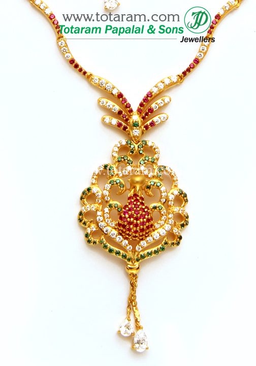 22k gold 39 peacock 39 necklace earrings set with cz gs2693 for 22k gold jewelry usa