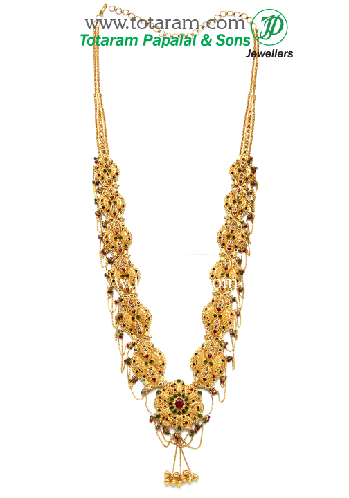 22k gold vaddanam cum long necklace 235 gv217 in for 22k gold jewelry usa